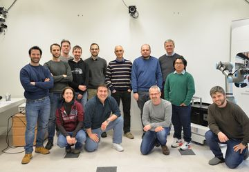 "Master in Robotics"" participants with Prof. Paolo Gallina (University of Trieste) together with Univ-Doz. DI Dr. Michael Hofbaur, DI Dr. Mathias Brandstötter and DI Matthias Weyrer, BSc of ROBOTICS"