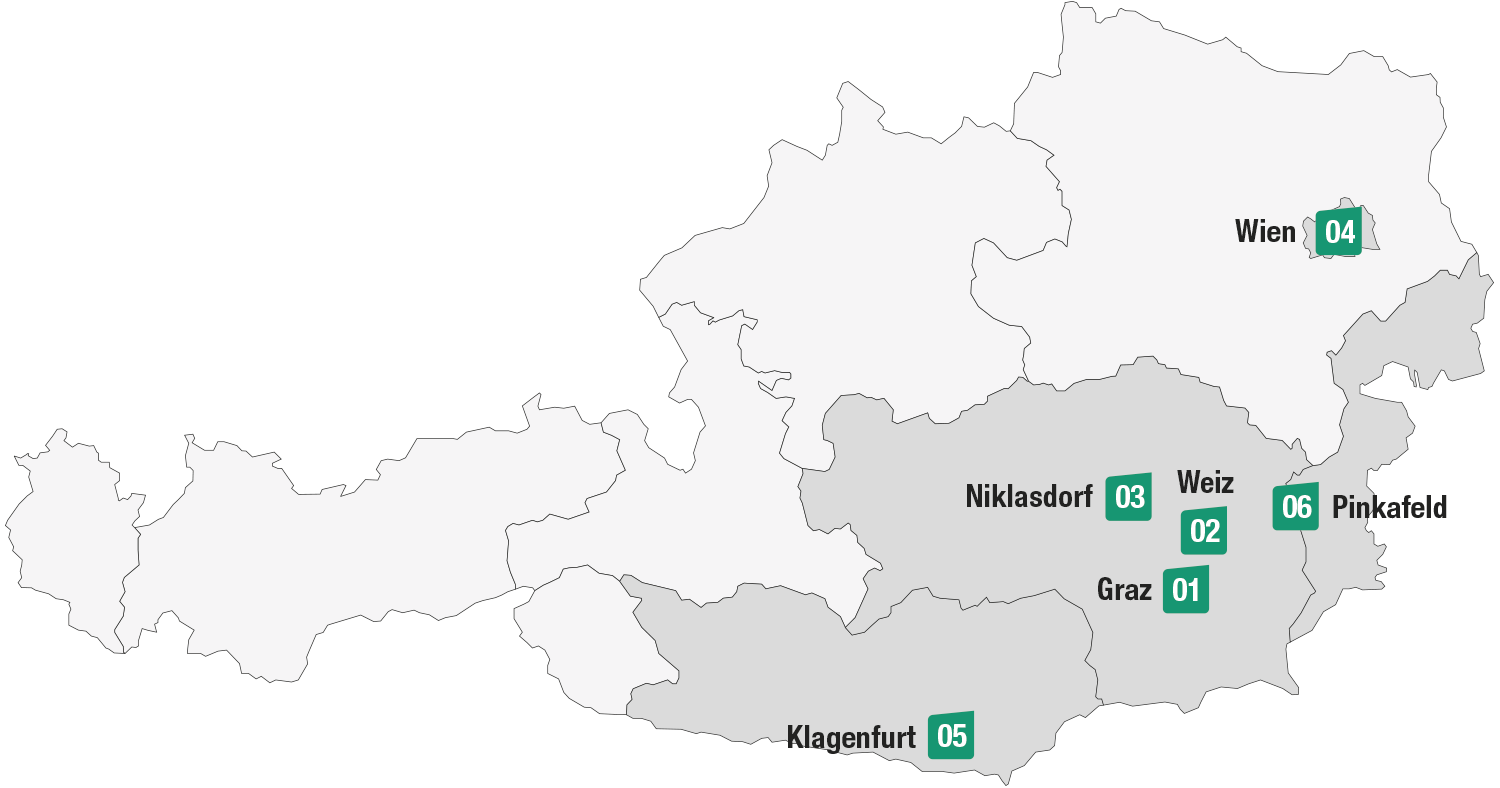 These are the locations of Joanneum Research: headquarters in Graz, further locations in Weiz, Niklasdorf, Vienna, Klagenfurt, Pinkafeld.