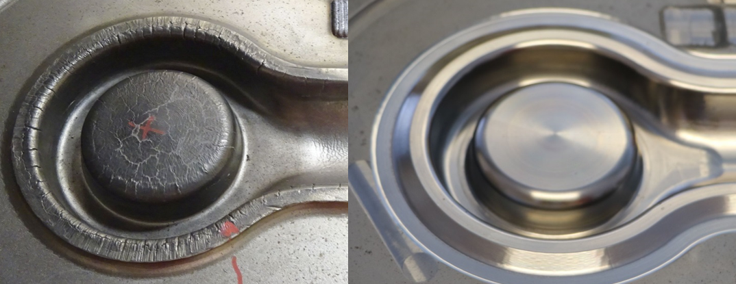 Worn out forging die before and after repair via laser cladding